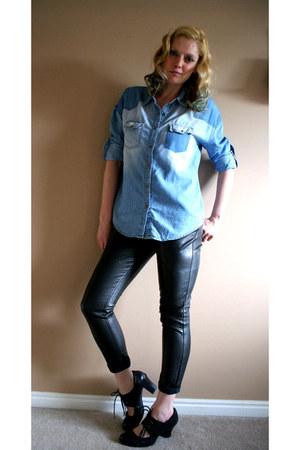 black leather skinny Forever 21 pants - blue Forever 21 shirt