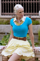 light yellow PB&J skirt - yellow Pree Brulee necklace - sky blue v-neck top