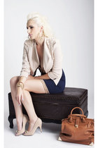 beige studded Lulus blazer - beige metallic bows Lulus shoes - navy Lulus dress