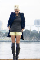 navy military She Inside jacket - gray grey suede naughty monkey boots