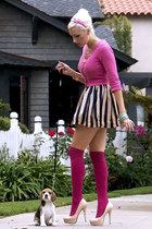 black OASAP dress - hot pink knee-high American Apparel socks