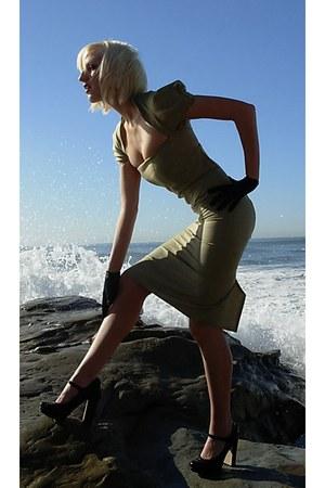black Forever 21 heels - olive green plaid designed by me dress