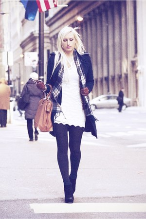 white lace OASAP dress - navy She Inside coat