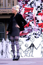 charcoal gray fairisle Pamela Mann tights - black Michael Kors coat