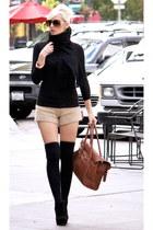 brown leather Bag bag - black wedges shoes - black H&M sweater