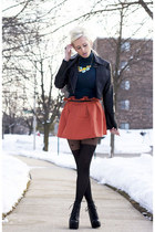 salmon tulip OASAP skirt - black litas Jeffrey Campbell shoes
