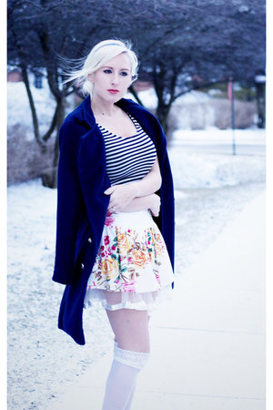 navy She Inside coat - navy striped H&M shirt - white floral Forever 21 skirt