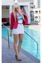 hot pink Frenchie blazer - aquamarine striped Forever 21 shirt