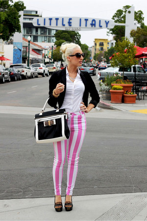 white unknown shirt - black H&M blazer - black Dama Handbags bag