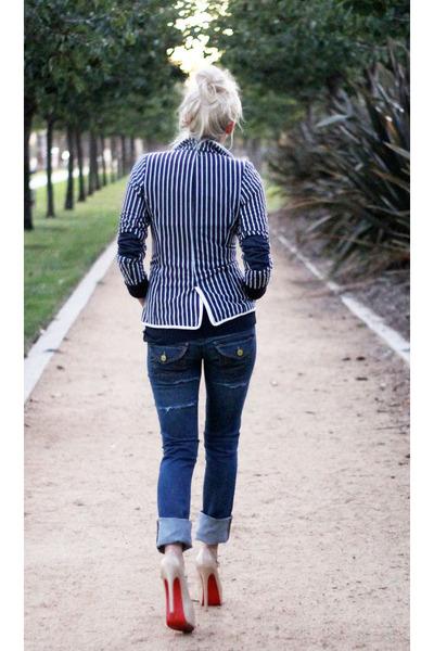 navy striped Pop Couture blazer - navy True Religion jeans