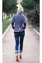 navy striped Pop Couture blazer - navy True Religion jeans