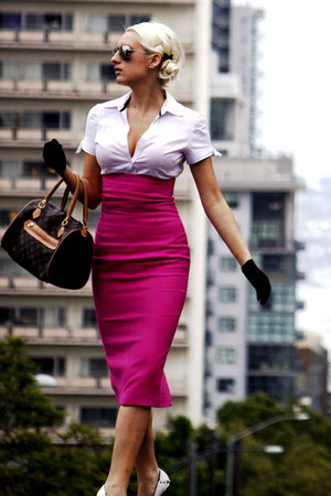 white bow sleeves gifted shirt - hot pink made by us skirt