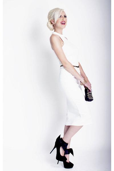 white halter midi Lulus dress - black studded bag Lulus bag