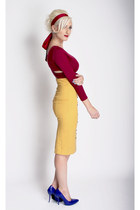 brick red cut-out cropped Lulus top - mustard pencil skirt Lulus skirt