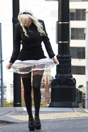 white tutu skirt skirt - black Leather jacket jacket - black Plush tights