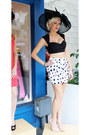Black-shopaholics-hat-white-shopaholics-skirt