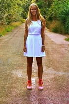 red espadrilles sandals - white dress