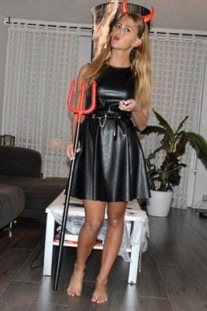 black faux leather Primark dress - black Primark belt