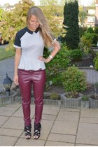 ruby red leather pants