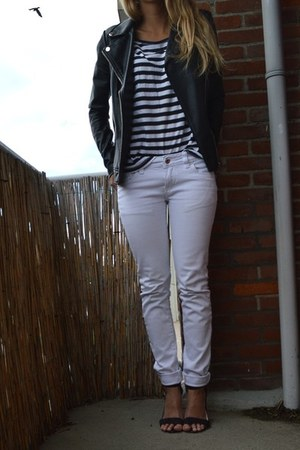 black faux leather jacket - white pants - black Primark heels