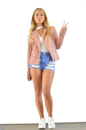 light pink stradivarius jacket - blue primark shorts - white adidas sneakers
