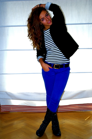 blue Zara pants - gray Zara t-shirt - black H&amp;M blazer - black Coronel Tapioca b