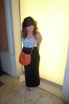 carrot orange fake leather H&M bag - black bodycon Boohoo skirt