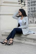 heather gray long wool coat Zara coat - white About You shirt