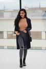 Gray-asos-jeans-black-leather-clutch-zaful-bag-nude-bershka-bodysuit