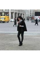 black wool Forever 21 cape - black wool c&a scarf - black Pimkie heels