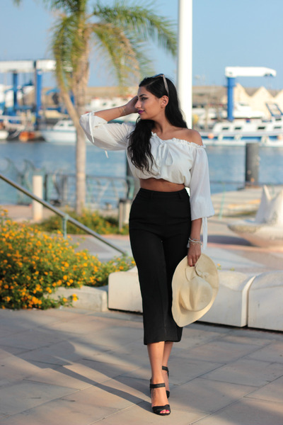 Black Rosegal Pants White Rosegal Blouses Black Black Heels Mango