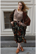 vintage cardigan - Jeffrey Campbell clogs - vintage skirt