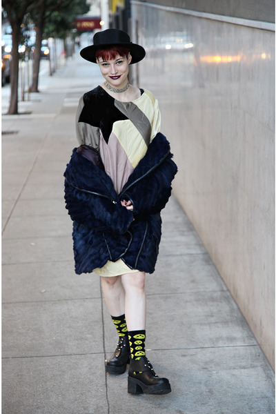 leather UNIF boots - velvet Tsumori Chisato dress - furry vintage coat