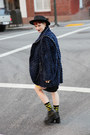 Leather-unif-boots-velvet-tsumori-chisato-dress-furry-vintage-coat