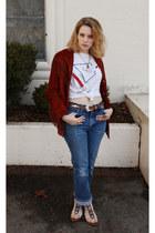 vintage jacket - wrangler vintage jeans - vintage t-shirt - sam edelman sandals