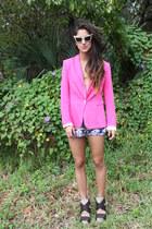 pink Zara blazer - camel vintage shirt - deep purple LF shorts