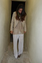 nude forver 21 jacket - white Alexis pants - camel Final Touch top - silver dany