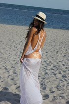 white sugar free dress - beige Panama Hat hat