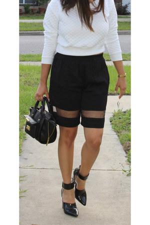 H&M sweater - River Island shorts - Nasty Gal heels