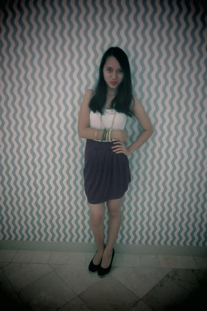 black Zara accessories - black Zara heels - deep purple Forever 21 skirt