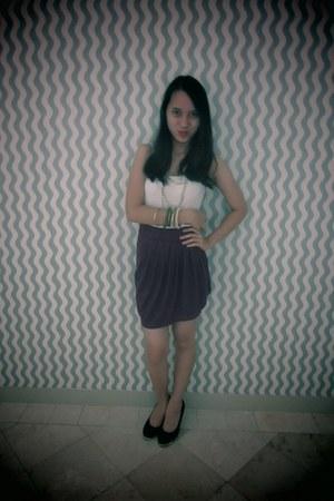 black Zara accessories - black Zara heels - deep purple Forever 21 skirt