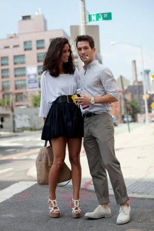 modcloth wedges - black Zara skirt