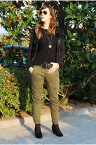 olive green Stradivarius pants - silver Ray Ban sunglasses - black Zara wedges