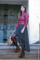 charcoal gray Zara skirt - Kandee boots - ruby red Stradivarius jacket