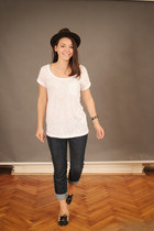 dark brown hat - Topshop jeans - white t-shirt - black flats - black bracelet