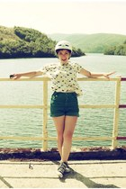 ivory Zara shirt - green Topshop shorts - black Converse sneakers