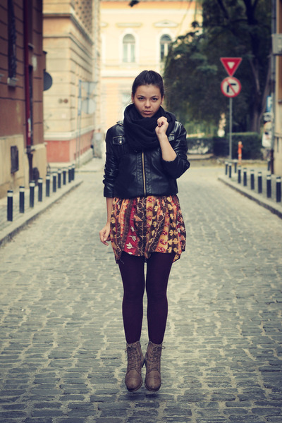 black jacket - army green boots - dress - dark brown tights - black scarf
