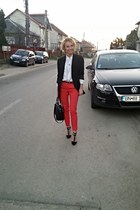 red clasic Mango pants - black H&M bag - black new look heels