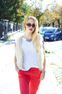 Dark-brown-h-m-sunglasses-white-zara-t-shirt-red-mango-pants-nude-h-m-vest