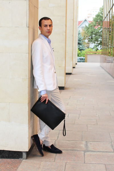 white Zara blazer - sky blue Zara shirt - forest green Zara bag
